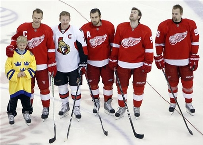 Wings Olympians: Daniel Alfredsson can play for the Wings anytime.